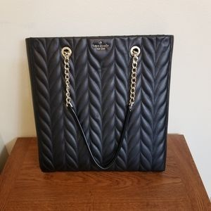 Kate Spade Black Leather North South Quilted Tote